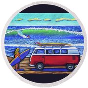 Checking Out The Waves Round Beach Towel