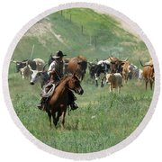 Checking The Cattle Round Beach Towel