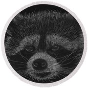 Cheeky Little Guy - Racoon Pastel Drawing Round Beach Towel