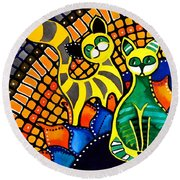 Round Beach Towel featuring the painting Cheer Up My Friend - Cat Art By Dora Hathazi Mendes by Dora Hathazi Mendes