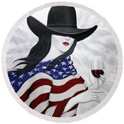 Cheers To America 1 Round Beach Towel by Lance Headlee