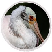 Cheese Puff Face - Roseate Spoonbill Round Beach Towel