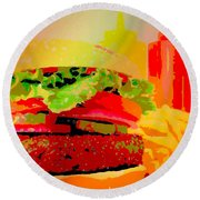 Cheeseburger And Fries Pop Art Round Beach Towel