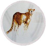 Cheetah And Zebras Round Beach Towel