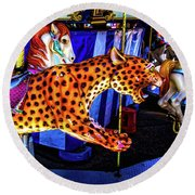 Cheetah Carrousel Ride Round Beach Towel