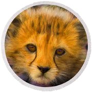 Cheetah Cub Round Beach Towel