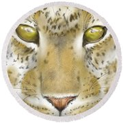 Cheetah Face Round Beach Towel