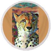 Cheetah Face Round Beach Towel