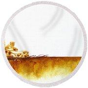 Cheetah Mum And Cubs - Original Artwork Round Beach Towel