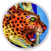 Cheetah Ride Portrait Round Beach Towel