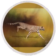 Cheetah Running Round Beach Towel