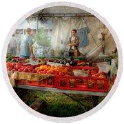 Chef - Vegetable - Jersey Fresh Farmers Market Round Beach Towel