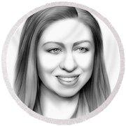 Chelsea Clinton Round Beach Towel by Greg Joens