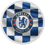Chelsea F C - 3 D Badge Over Flag Round Beach Towel by Serge Averbukh