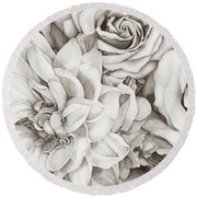 Chelsea's Bouquet - Neutral Round Beach Towel