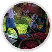 Round Beach Towel featuring the photograph Chennai Flower Market Busy Morning by Mike Reid