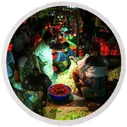 Round Beach Towel featuring the photograph Chennai Flower Market Stalls by Mike Reid