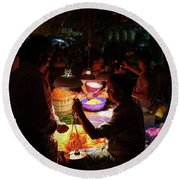 Round Beach Towel featuring the photograph Chennai Flower Market Transaction by Mike Reid