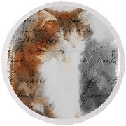 Round Beach Towel featuring the painting Cher Chat ... by Chris Armytage