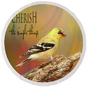 Round Beach Towel featuring the photograph Cherish by Darren Fisher