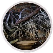 Round Beach Towel featuring the photograph Cherokee Lake Abstract by Douglas Stucky