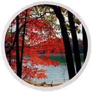Round Beach Towel featuring the photograph Cherokee Lake Color by Douglas Stucky