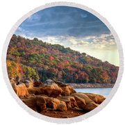 Round Beach Towel featuring the photograph Cherokee Lake Color II by Douglas Stucky