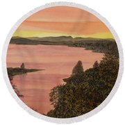 Round Beach Towel featuring the painting Cherokee Lake - Golden Glow by Joel Deutsch