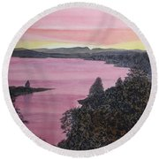 Round Beach Towel featuring the painting Cherokee Lake Sunset by Joel Deutsch