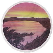 Round Beach Towel featuring the painting Cherokee Lake Sunset Number Seven by Joel Deutsch