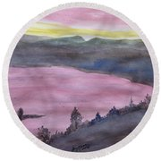 Round Beach Towel featuring the painting Cherokee Lake - Watercolor Sketch  by Joel Deutsch