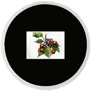 Cherries Round Beach Towel by Terry Banderas