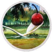 Cherry And Spoon Round Beach Towel by Marilyn Jacobson