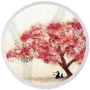 Cherry Blossom And Panda Round Beach Towel