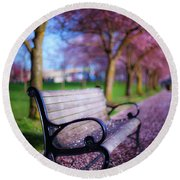 Round Beach Towel featuring the photograph Cherry Blossom Bench by Darren White