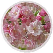 Cherry Blossom Closeup Round Beach Towel by Gill Billington