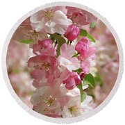 Cherry Blossom Closeup Vertical Round Beach Towel by Gill Billington