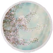 Round Beach Towel featuring the photograph Cherry Blossom Dreams by Linda Lees