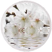Cherry Blossom In Water Round Beach Towel
