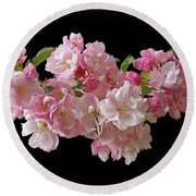 Cherry Blossom On Black Round Beach Towel by Gill Billington