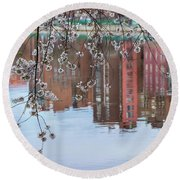 Cherry Blossom Reflections Round Beach Towel