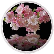 Cherry Blossom Reflections On Black Round Beach Towel by Gill Billington