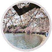 Cherry Blossom Stroll Around The Tidal Basin Round Beach Towel