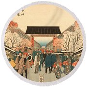 Cherry Blossom Time In Nakanocho Round Beach Towel