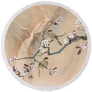 Cherry Blossom Tree And Two Birds Round Beach Towel