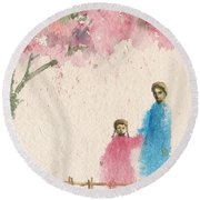 Cherry Blossom Tree Over The Bridge Round Beach Towel