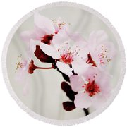 Round Beach Towel featuring the mixed media Cherry Blossoms 1- Art By Linda Woods by Linda Woods