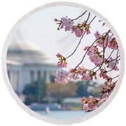 Cherry Blossoms And Jefferson Memorial Round Beach Towel