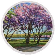 Cherry Blossoms, Central Park Round Beach Towel