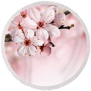 Cherry Blossoms In Bloom  Round Beach Towel